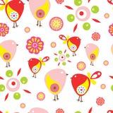 Pássaros pequenos coloridos Teste padrão sem emenda do vetor Fotografia de Stock Royalty Free