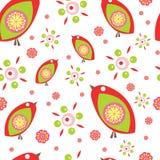 Pássaros pequenos coloridos Teste padrão sem emenda do vetor Fotos de Stock Royalty Free