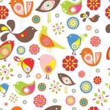 Pássaros pequenos coloridos Teste padrão sem emenda do vetor Imagem de Stock Royalty Free