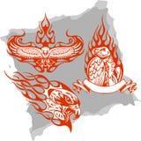 Pássaros predatórios e flamas - jogo 3. ilustração stock