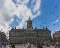 Pássaros que voam sobre Royal Palace Amsterdão em Dam Square em Amsterdão do centro imagens de stock