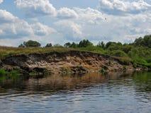 Pássaros sobre o rio Fotografia de Stock Royalty Free