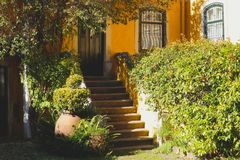 Pátio acolhedor com uma casa amarela e um jardim fotografia de stock