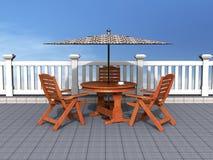 Pátio ao ar livre com cadeiras e tabela Imagem de Stock Royalty Free