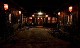 Pátio chinês na noite Imagens de Stock