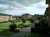 Pátio de entrada de Claycroft, Warwick University, Reino Unido fotografia de stock royalty free