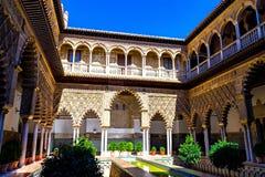 Pátio de las Doncellas no Alcazar real, Sevilha Imagem de Stock