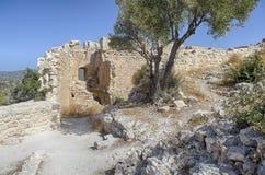 Pátio interno do castelo medieval de Kastellos Imagem de Stock