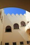 Pátio no forte do otomano na ilha de Kos em Grécia Fotografia de Stock