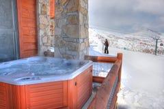 Pátio traseiro uma cuba quente e um esquiador foto de stock