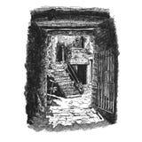 Pátio velho em um dia ensolarado ilustração stock
