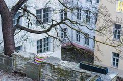 Pátio velho medieval da cidade cercado por janelas Fotografia de Stock Royalty Free