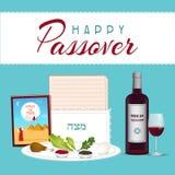 Pâque heureuse dans le tamplate juif hébreu de bannière de vacances avec du vin, plat de seder, backgroun de pain azyme illustration libre de droits