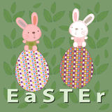 Pâques avec le lapin et les oeufs Image libre de droits