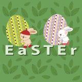 Pâques avec le lapin et les oeufs Photographie stock libre de droits