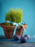 Pâques avec les oeufs bleus Photos stock