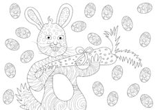 Pâques Bunny Eating Carrot et heureux avec des oeufs dans le modèle de livre de coloriage illustration libre de droits