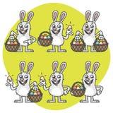 Pâques Bunny Holding Egg et caractères réglés de panier Image libre de droits