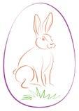 Pâques Bunny Purple Egg Outline Image stock