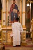 Pâques, cérémonie de prière de l'église orthodoxe. Image libre de droits