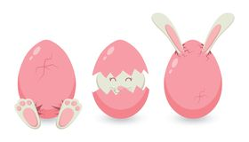 Pâques, carte de voeux avec un lapin mignon, a haché d'un oeuf rose Illustration de style de bande dessinée de vecteur Image stock