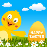 Pâques Chick Smiling et carte de voeux Images stock