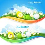 Pâques a coloré des milieux Photos stock
