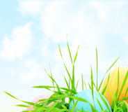 Pâques a coloré le cadre d'oeufs photographie stock libre de droits