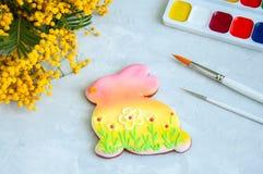 Pâques décorée Bunny Cookie Image libre de droits