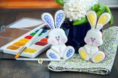 Pâques décorée Bunny Cookies Photos libres de droits