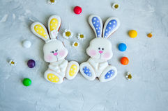 Pâques décorée Bunny Cookies Colorful Candies Camomiles sur W Photographie stock libre de droits