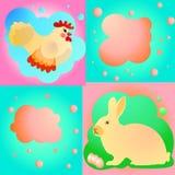 Pâques douce réglée avec le poulet et le lapin Images stock