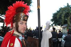 Pâques en Sicile, vendredi saint - Centurione - Italie Images stock