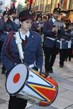 Pâques en Sicile, vendredi saint - musiciens dans le cortège Photo libre de droits
