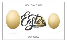 Pâques Fond de bannière de vente avec les oeufs réalistes et le lettrage heureux de Pâques Calibre de conception de vente de Pâqu Images stock