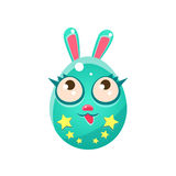 Pâques formée par oeuf bleu Bunny With Eyelashes Images stock