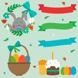 Pâques mignonne réglée avec le lapin, les oeufs de pâques et les rubans Vecteur Images libres de droits