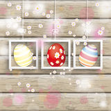Pâques 3 oeufs Cherry Flowers Wood de cadres Photos libres de droits