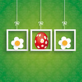 Pâques ornemente des cadres de fleurs d'oeufs Image libre de droits