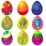 Pâques a peint le positionnement d'oeufs Image libre de droits
