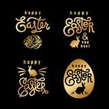 Pâques souhaite l'ensemble de label d'or Photographie stock libre de droits