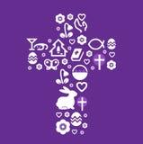 Pâques stylized la croix Photos stock