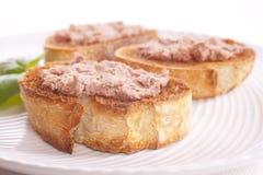 Pâté sur le pain grillé Photo stock