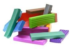Pâte à modeler colorée d'isolement sur le fond blanc Images stock