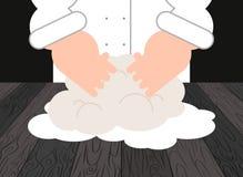 pâte Chef et chef de pâtisserie Baker au travail Illustration de vecteur Image stock