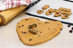 Pâte de biscuit de chien faite avec des canneberges, en forme de coeur avec le coupeur de biscuit de coeur Foyer sélectif sur le  images libres de droits