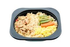 Pâte de piment avec du porc et le riz frit, un repas instantané innovateur pendant une vie agitée Photo stock