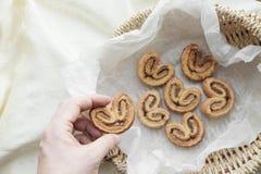 Pâte feuilletée avec de la cannelle et le sucre Photos stock