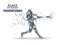 Pâte lisse de base-ball frappant la boule, composition divergente en particules Images stock