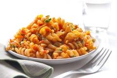 Pâtes avec de la sauce à tomao Image libre de droits